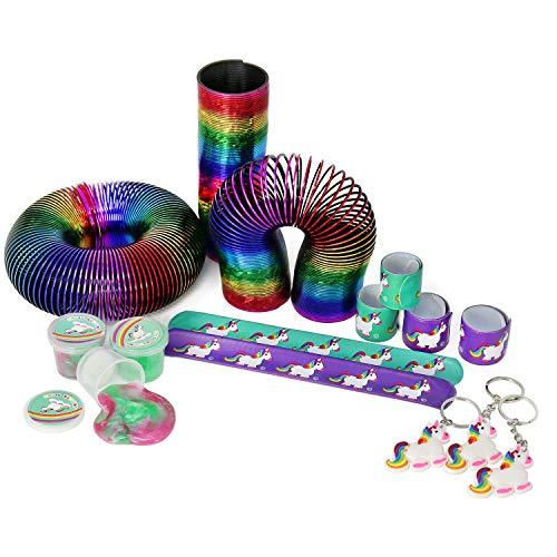 com-four® 15-teiliges Mitgebsel Set mit Einhorn Motiven für Kindergeburtstage bestehend aus Schnapparmband, Schlüsselanhänger, Schleim und Regenbogen-Spirale (015-teilig)