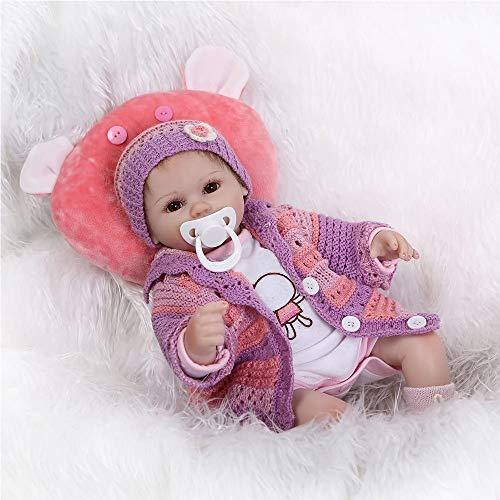 Minidiva Lebensechte Puppen Babys, Triplespark Handgemachtes Reborn Puppe Mädchen Komplett Silikon Vinyl Realistische Baby Puppe 15.7