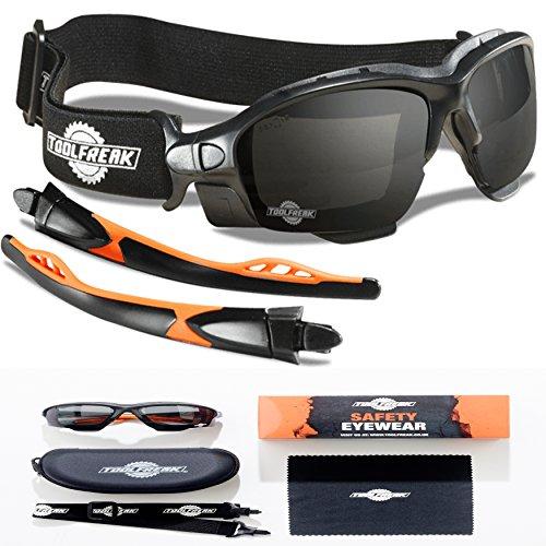 Schutzbrille und Sicherheitsbrille Perfekte Kombination , Sicherheits-Spoggles von ToolFreak, 99.9% UV-Schutz, Dunkle Linse