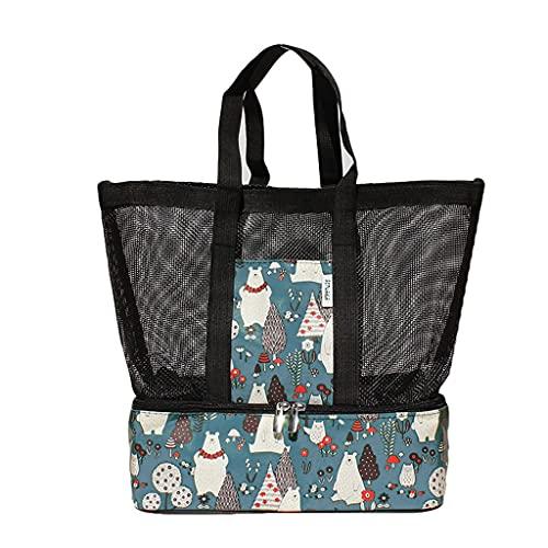 DIWA Tragbare Strandtasche mit trockener und Nasser Trennung, Faltbarer Mesh-Lager-Strandtasche für Badewanne und Fitnessstudio, 11 * 5 * 12in (Color : Blue Bear, Größe : 29 * 14 * 33cm)