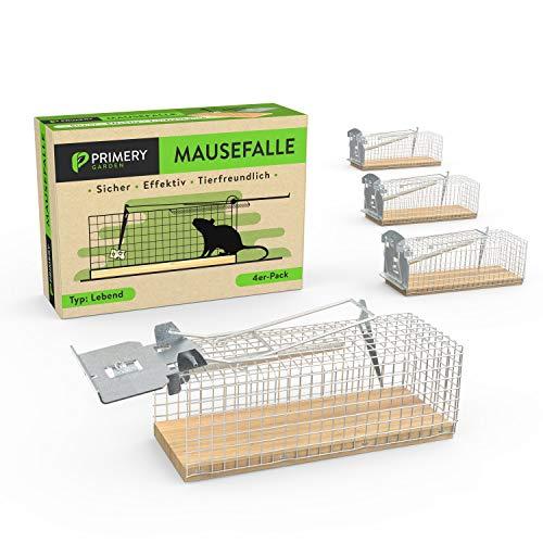 Primery Garden® Mausefalle Lebend im Praktischen 4er Pack für Innen & Aussen - Tierfreundliche Lebendfalle für Mäuse – 100% Effektiv & Verletzungsfrei