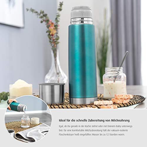 Reer Edelstahl Isolier-Flasche COLOUR, 500ml – klein, handlich, ideal fürs Baby, mit integriertem Becher, pazifikblau 90503