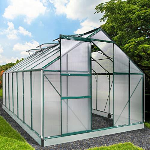 BRAST Gewächshaus Aluminium mit Fundament rostfrei 430x250x205cm Silber 6mm Platten 37 Modelle Alu Treibhaus Glashaus Tomatenhaus