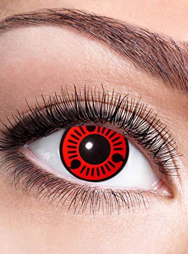 Sasuke Sharingan Kontaktlinse mit Dioptrien - farbige Motivlinse mit Sehstärke - Dioptrien: -2 - ideal für Halloween, Karneval, Motto-Party