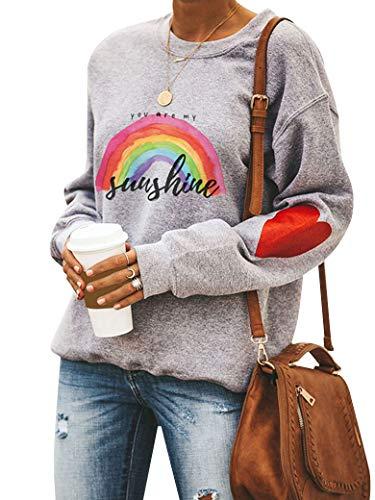 Dresswel Damen You Are My Sunshine Sweatshirt Regenbogen Pullover Pulli Herz Druck Rundhals Lanagrmshirt Oberteile Bluse Tops (Grey, L)