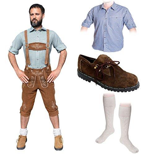 Herren Trachten Set A 5-teilig Trachten Lederhose Hellbraun 46-60 Trachtenhemd Schuhe Socken Oktoberfest