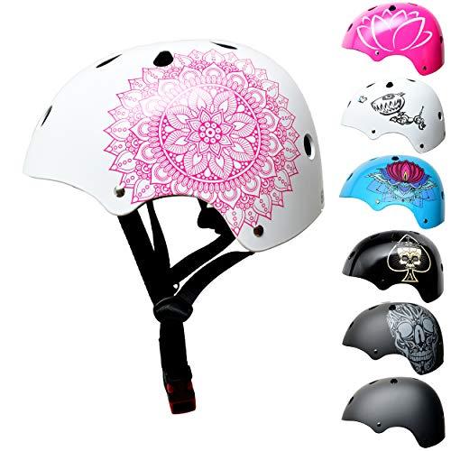 Skullcap BMX Helm - Skaterhelm - Fahrradhelm - Herren Damen Jungs & Kinderhelm, weiß-rosa, Gr. S (53 - 55 cm), Mandala