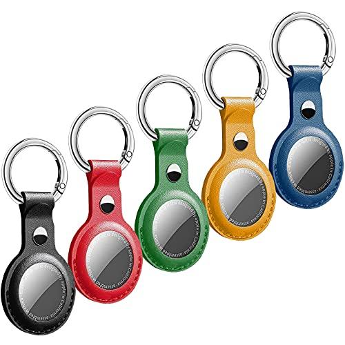 Airtags Hülle - 5 Stück Airtags Schlüsselanhänger Tragbare Soft PU Leder Shock Absorption Hülle für 2021 Airtag Case Airtag Anhänger für Airtags Hülle Leder Keychain Case für Airtags