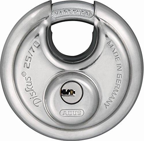 ABUS Diskus® Vorhängeschloss 25/70 mit 360° Rundumschutz - inkl. 5 Schlüssel - mit präzisem Wendeschlüssel-System - 32279 - Level 8 - Silber