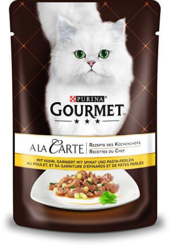 PURINA GOURMET A la Carte Katzenfutter nass, mit Huhn, Spinat und Pasta-Perlen, 24er Pack (24 x 85g)
