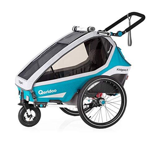 Qeridoo Kidgoo 1 (2020/2021) Kinderfahrradanhänger, Fahrradanhänger 1 Kind - Petrol