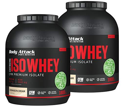 Body Attack Extreme Whey Deluxe, Eiweißpulver mit Aminosäuren, Triple-Whey-Complex, CFM Whey Isolate, perfekt lösliches Protein-Pulver, fettarm, zuckerarm, Made in Germany, Cookies n Cream, 2x2,3 kg