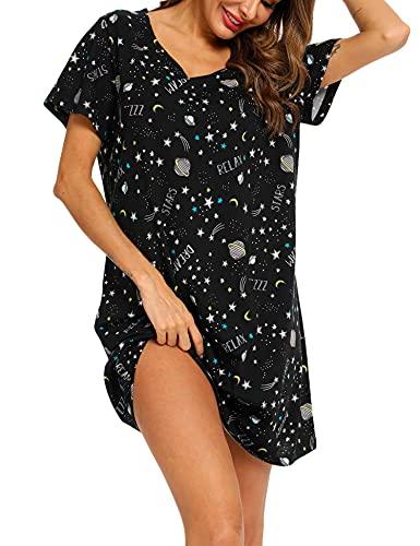 ENJOYNIGHT Nachtwäsche aus Baumwolle für Damen mit kurzen Ärmeln und Schlafhemd-Schlaf-T-Shirt(3X-Large,Mondstern)