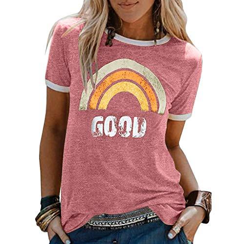 AmyGline Damen T-Shirt Good Regenbogen Muster Shirt Rundhals Kurzarm Oberteile TunikaTops Bluse Sommer Oberteil Oben Grafik Drucken Tee Tops