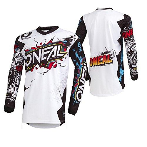 O'NEAL | Motocross-Jersey Langarm | Kinder | MX MTB Mountainbike Enduro | Eingenähter Ellbogenschutz, V-Ausschnitt, Atmungsaktives Material | Element Youth Jersey Villain | Weiß | Größe S