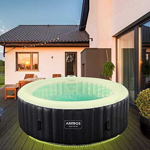 Arebos Whirlpool Santorini   automatisch aufblasbar   In & Outdoor   6 Personen   LED Leuchtband   130 Massagedüsen   1000 Liter   Inkl. Abdeckung   Bubble Spa & Wellness Massage