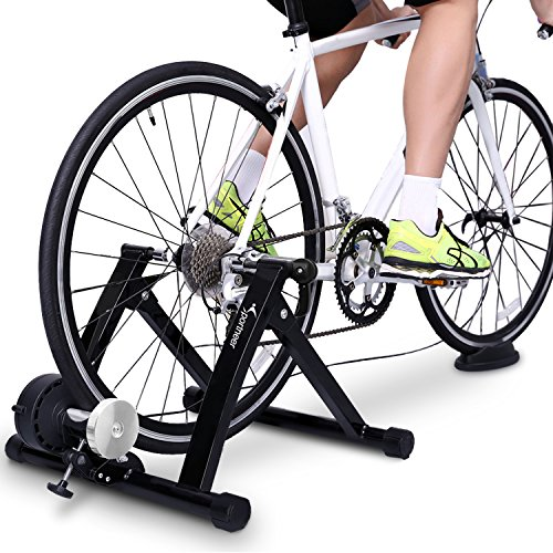 Sportneer Fahrrad Rollentrainer Stahl Fahrrad Übung Magnetischer Ständer mit Geräusch Reduktions Rad (Schwarz)