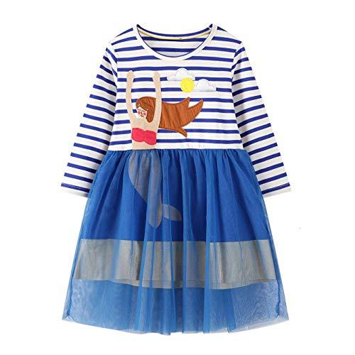JinBei Meerjungfrau Kleid Mädchen Kleider Langarm Blau Streifen Tüll Baumwolle Frühling Herbst Kinder Freizeit T-Shirt Kleid 2-7 Jahre