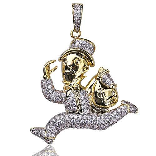 LILIMO Hip Hop Gefror Heraus Goldfarbe Überzogen Lauf Clown Halskette Mikro Pflastern Zirkon Halskette Männer Frauen Fashion Jewelry
