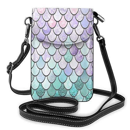 Risating Beutel Schultertasche Geldbörse – Meerjungfrau Fisch Schuppen Kleine Handtasche Münzbörse mit verstellbarem Riemen PU-Leder für Frauen Mädchen