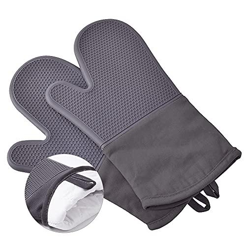 LAIJUHM Ofenhandschuhe Silikon Topfhandschuhe Hitzebeständig bis 300°C, Anti-Rutsch Backhandschuhe, Extra Lang Küchen & Backofen Handschuhe zum Backen, Kochen und Grillen, Grau