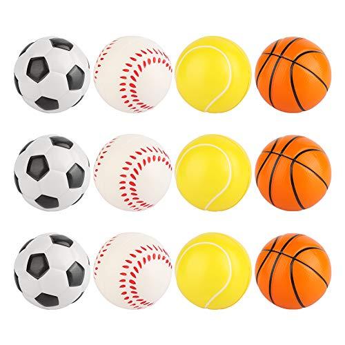12Stk Squishy Spielzeugball, Stressball im Mini Sportball Design, Antistressbälle Stressbälle in Mehreren Härtegraden Stress Balls auch als Mitgebsel, Basketball Fußball Tennis Baseball Stressabbau