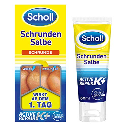 Scholl Schrundensalbe Active Repair K+ gegen Hautschäden an rauen, trockenen & rissigen Fersen – Mit 25% Urea & Keratin – 1 x 60ml Fußcreme