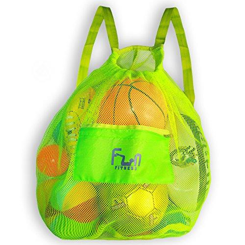 NETZBEUTEL – L Grün - Rucksack mit Zugverschluss für den Strand, Swimmingpool, Spielzeuge, Bälle, u.v.m. - Halten Sie Sand und Wasser fern - große haltbare Tragetasche mit einem Fassungsvermögen