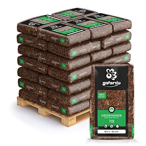 GALAMIO Rindenmulch Mulch Garten Holz Dekor Rinde Borke Natur Pinus Sylvestris Wald Kiefer Mix 5-60mm 70l x 36 Sack 2.520l / 1 Palette Paligo
