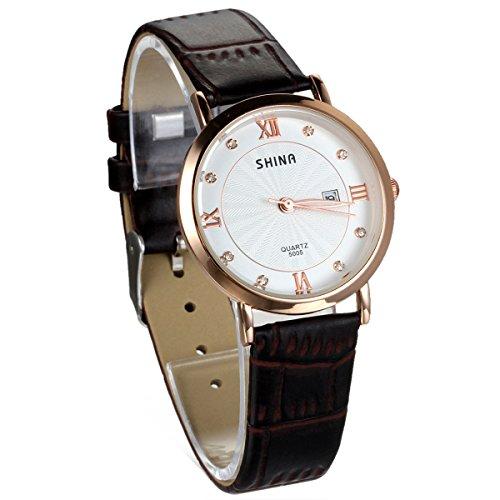 JewelryWe Damen Armbanduhr, Analog Quarz Wasserdicht, Exquisite Braun Leder Armband Uhr mit Weiss Strass Kalender Zifferblatt