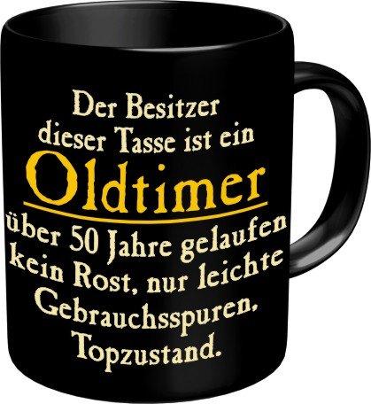 RAHMENLOS® Kaffeebecher zum 50. Geburtstag: Oldtimer 50 Jahre gelaufen. Im Geschenkkarton 2555