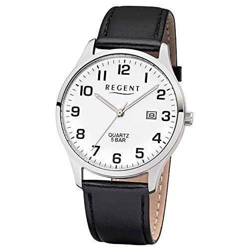 Regent Herren-Armbanduhr Elegant Analog Leder-Armband schwarz Quarz-Uhr Ziffernblatt weiß UR1113405