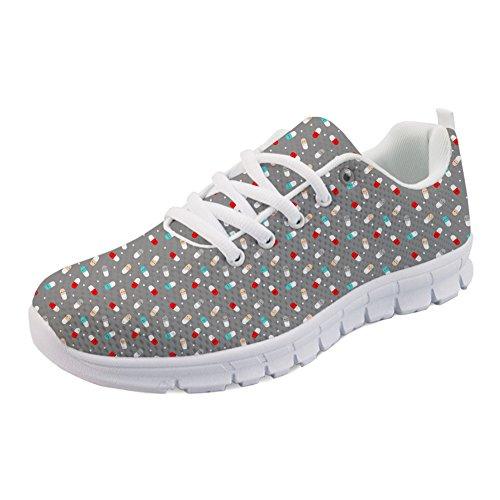 Coloranimal Happy Pills Pattern Gymnastiksport Laufen Walking Sneakers Jogging Flats, Happy Pills, 40 EU