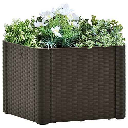 Festnight Garten-Hochbeet mit Selbstbewässerungssystem Polyrattan Pflanzkübel Blumenkasten Blumenkübel Pflanzkasten Mokka/Grün 43x43x33 cm