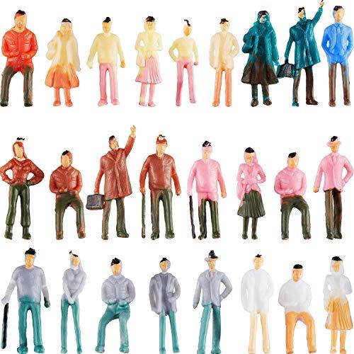Gejoy 100 Stücke Menschen Figuren Modell Züge Architektur Plastik Menschen Figuren Winzige Menschen Sitzen und Stehen für Miniatur Szenen, Maßstab 1:75