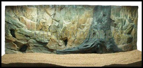 3D Aquarien Rückwand 120x60 Fels mit Wurzel