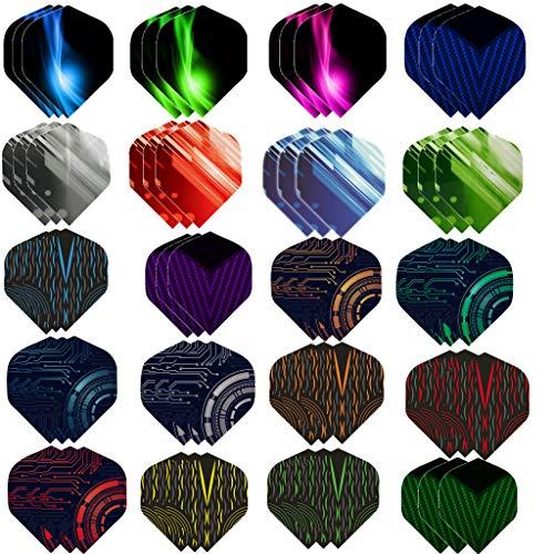 Haosell 60 Stück Dart Flights Slim Dart Flights Set dartflys Set Dart Flights Set weiß schwarz pink rot lila Rose blau Grun Dart Flight Standart Form für Soft Dartpfeile und Steel Dartpfeile