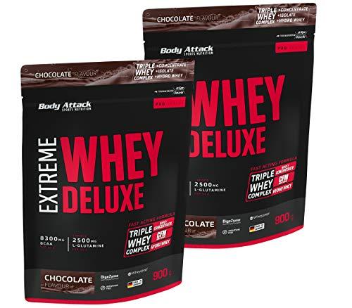 Body Attack Extreme Whey Deluxe, Eiweißpulver mit Aminosäuren, Triple-Whey-Complex, CFM Whey Isolate, perfekt lösliches Protein-Pulver, fettarm, zuckerarm, Produkt der Kölner Liste, Chocolate, 2x900g