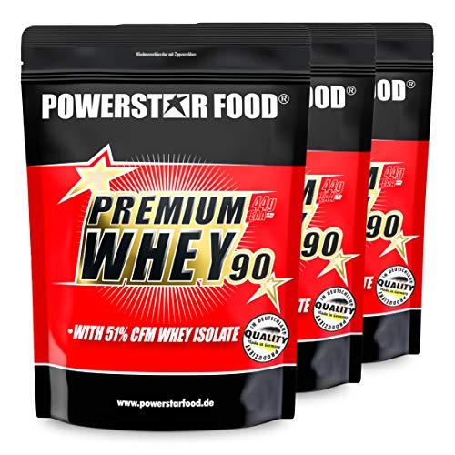 PREMIUM WHEY 90 Pack - Mit 51,00% CFM Whey Isolat - Weidenmilch Molkenprotein mit 90% i.Tr. Proteingehalt - Perfekt für Muskelaufbau & Abnehmen - Extrem lecker - Made in Germany - 3 x 850g (Vanilla)