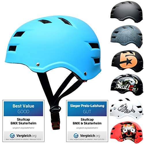 Skullcap® Skaterhelm Erwachsene hellblau Blue Ocean - Fahrradhelm Damen Herren ab 14 Jahre Größe 58-61 cm - Scoot and Ride Helmet Adult Light Blue - Skater Helm für BMX Inliner Fahrrad Skateboard