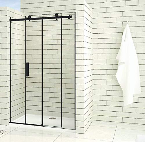 Aica Sanitär 140x200cm Duschtür Verstellbereich von 137-140 cm Duschabtrennung Nischentür Dusche Schwarz aus 8mm Sicherheitsglas mit Nanobeschichtung