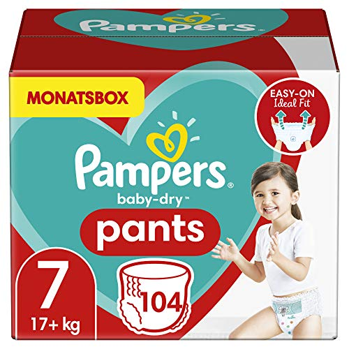 Pampers Windeln Pants Größe 7 (17+kg) Baby Dry, 104 Höschenwindeln, MONATSBOX, Einfaches An- und Ausziehen, Zuverlässige Trockenheit