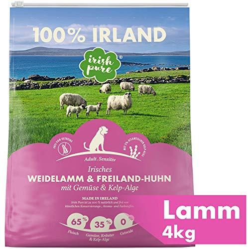 Irish Pure Adult Weidelamm & Freiland-Huhn mit Kelp-Alge - Premium Trockenfutter für Hunde, Hoher Fleischanteil, Getreidefrei, Sensitiv, Hundetrockenfutter, Hundefutter für alle Rassen (4kg)