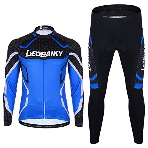 Herren Fahrradbekleidung Set Langarm Fleece Radjacke + Fahrradhose 3D Gepolsterte S - 2XL (Blau, XL)