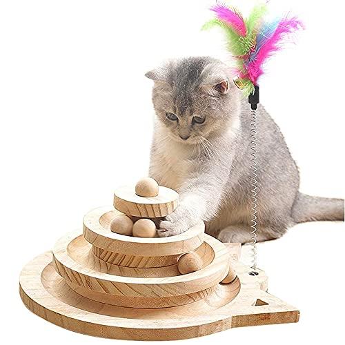 Yang Xin.Style Dreischichtiger Holzkugel-Katzenspielzeug,Turntable für Katzen+Lustiger Katzenstock, interaktives Katzenspielzeug