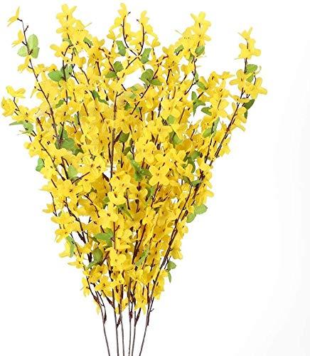 Bettgitter 10pcs Künstliche Blumen Sommer Kunstblumen Forsythie Gelb Seideblumen Plastikblumen Unechte Blumen für Drinnen Draußen Balkon Garten Topf Vase Tischdeko Zuhause Dekoration (Color : Yellow)
