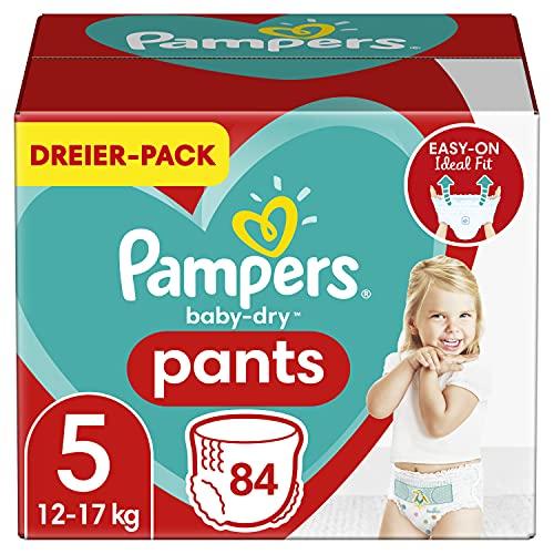 Pampers Windeln Pants Größe 5 (12-17kg) Baby Dry, 84 Höschenwindeln, MONATSBOX, Einfaches An- und Ausziehen, Zuverlässige Trockenheit