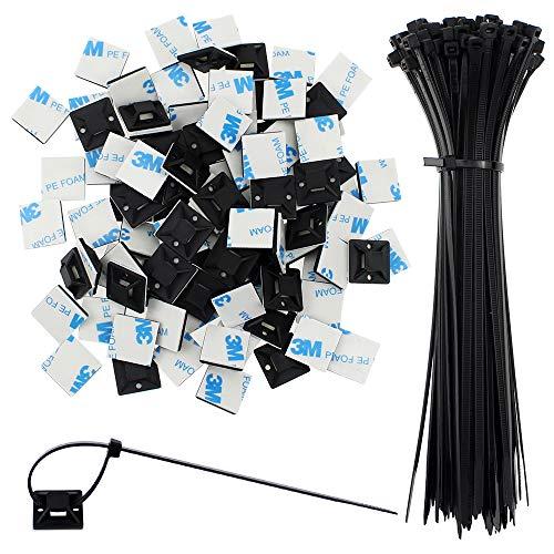 SRunDe 100Stück Schwarz Kabelbinder Nylon Selbstsichernder Mehrzweck Kabelbinder mit 100X Selbstklebende Kabelbinder Basishalter Montagesockel Für den Außen und Außenbereich festes Kabel und Drahtrohr
