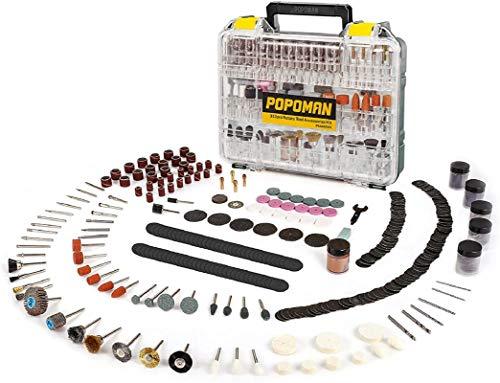Zubehörset für Multifunktionswerkzeug, POPOMAN 313-teilig Mehrzweck Zubehörset Werkzeug Universal Zubehör einfach zum Schneiden, Schleifen, Polieren, Bohren und Gravieren mit Tragekoffer