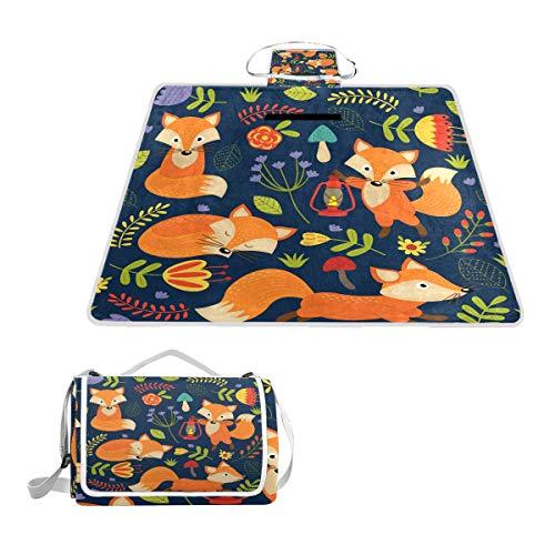 LZXO Jumbo-Picknickdecke, faltbar, niedliche Tier-Blume, groß, 145 x 150 cm, wasserdicht, handliche Matte, für Outdoor-Reisen, Camping, Wandern.